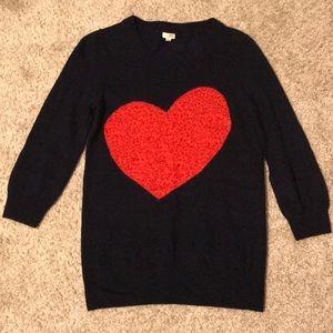 J. Crew Sweater w/ Sparkly Heart Embellishment